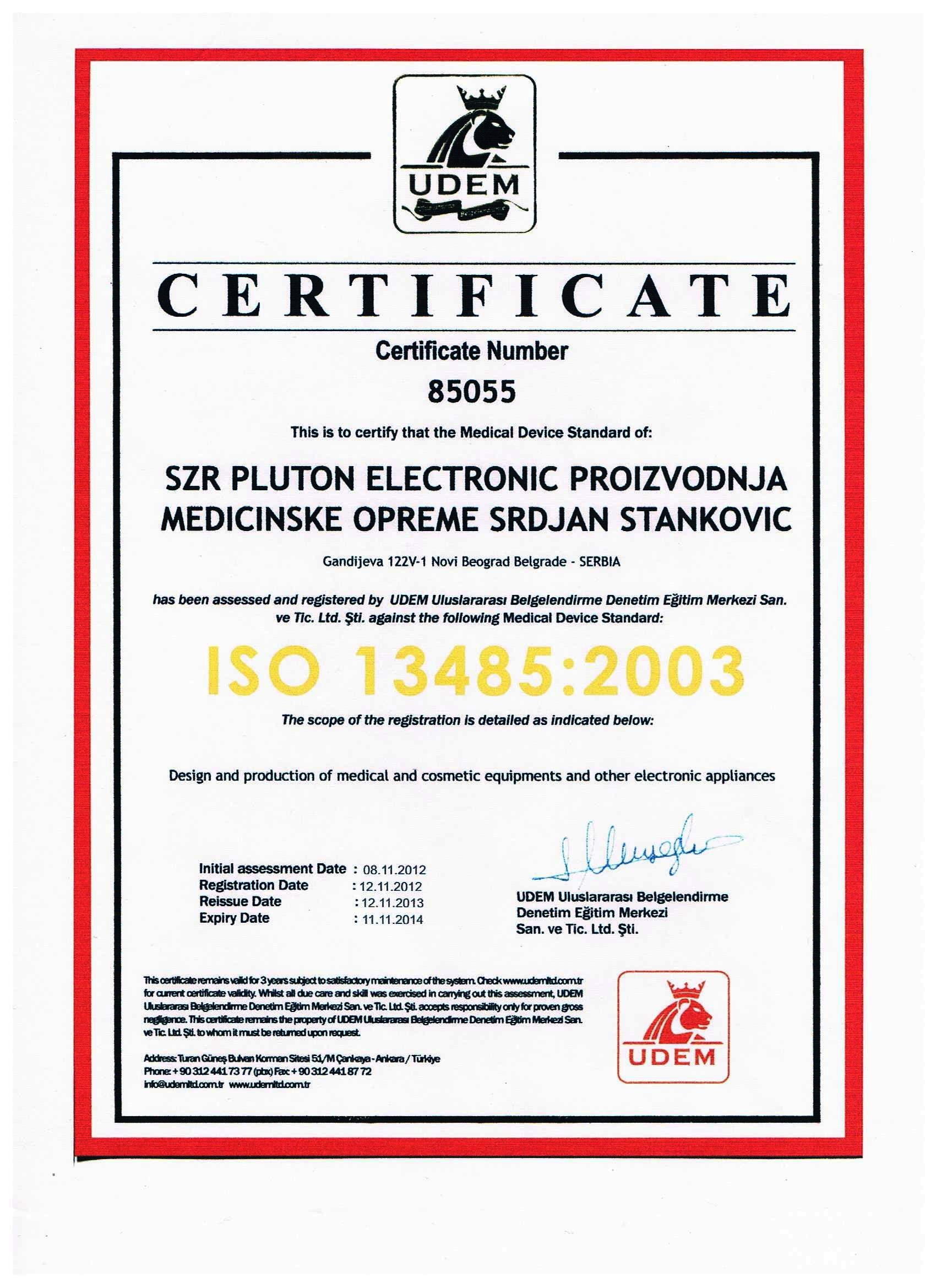 CERTIFICATE ISO13485 2003